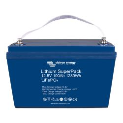 Top View of Victron Energy 12.8V Lithium SuperPack 100 Amp Batteries