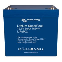 Top View of Victron Energy 12.8V Lithium SuperPack 60 Amp Batteries