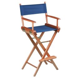 Teak Captain's Chair - Blue Seat Cover