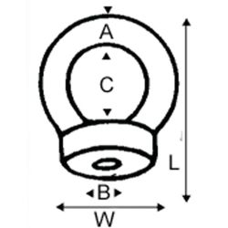 diagram of Wichard Eye Nut - UNC Thread Versions