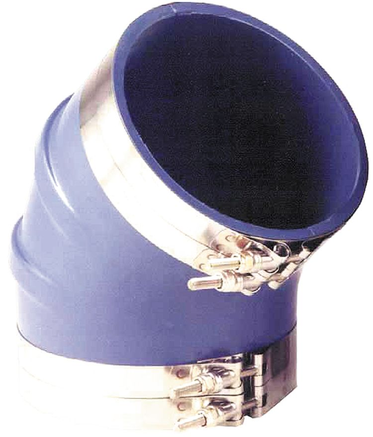 45 Deg Exhaust Bellows Elbow - Blue Silicone