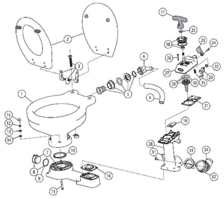Jabsco Manual Toilet Parts & Service Kits | Fisheries Supply
