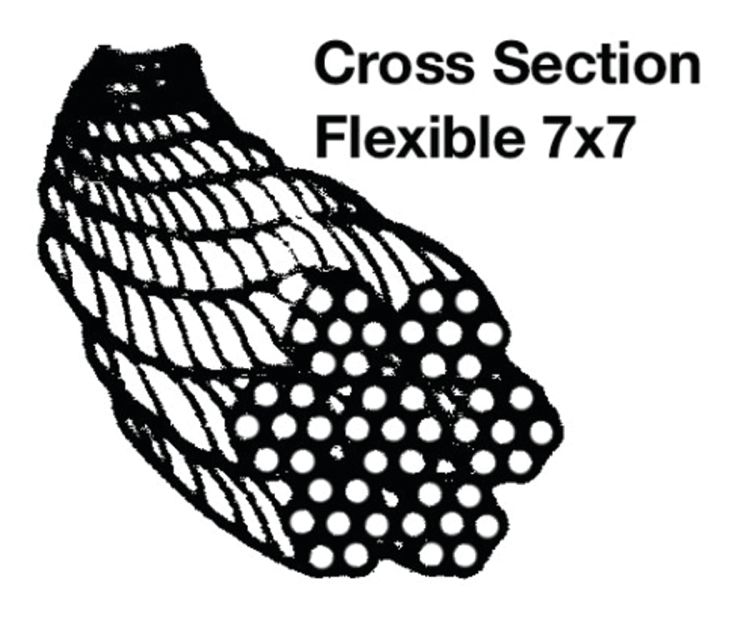 7x7 Stainless Steel Wire Rope - 316 Alloy