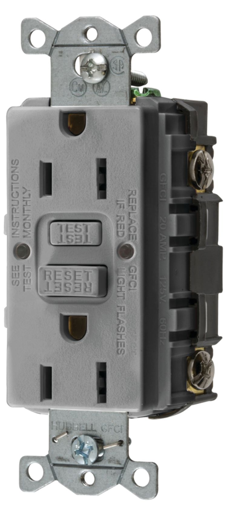 Hubbell Gfrst52mgy Fisheries Supply Groundfault Circuit Interrupter Outlet Ground Fault Gfci