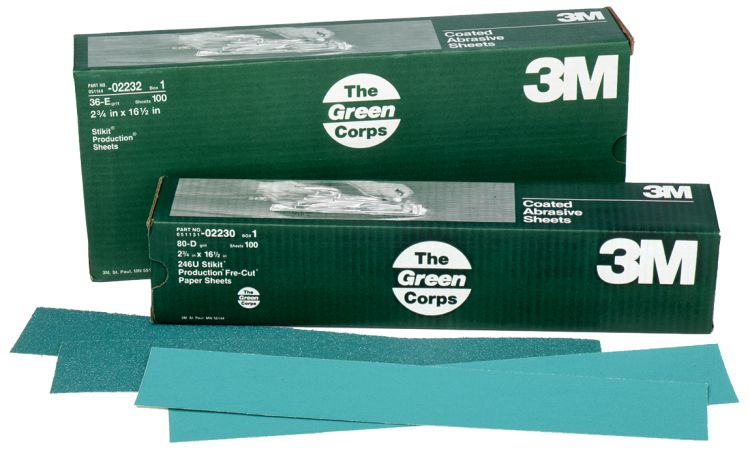 3M 32231 Stikit Green Corps 2-3//4 x 16-1//2 40E Grit Sheet