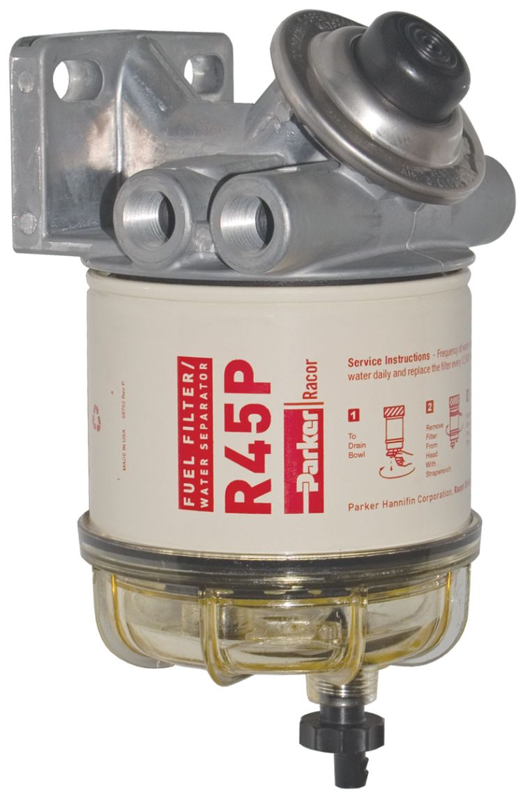 Racor 445r30 Fisheries Supply Parker Marine Fuel Filter Main View Of 445r Diesel Spin On Series