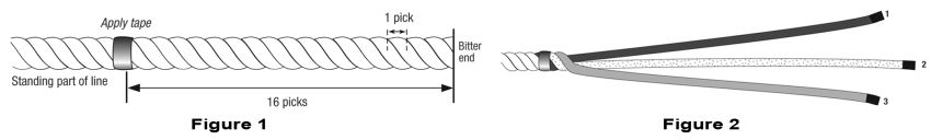 Prepare the 3-strand line for the rope to chain splice.